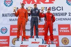 Race 3 podium: winner Vikash Anand. second place Raghul Rangasamy, third place Goutham Parekh