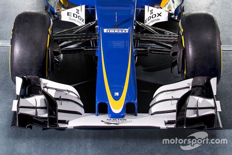 detalle del alerón delantero, Sauber C35