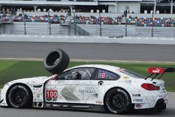 #100 BMW Team RLL BMW M6 GTLM: Lucas Luhr, John Edwards, Kuno Wittmer, Graham Rahal hits a rogue tire