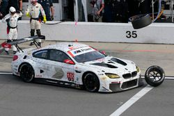 #100 BMW Team RLL BMW M6 GTLM: Lucas Luhr, John Edwards, Kuno Wittmer, Graham Rahal hits a rogue tir
