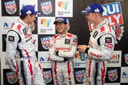 Post-race press conference: second place Rick Kelly, Katsumasa Chiyo, Florian Strauss, Nissan Motors