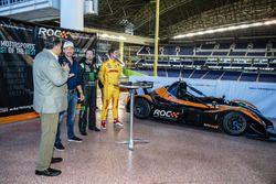 Presidente de Race of Champions Fredrik Johnsson, Kurt Busch y Ryan Hunter-Reay