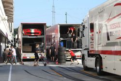 Blancpain Series trucks arriving at the Hungaroring