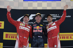 The podium: race winner Max Verstappen, Red Bull Racing, second place Kimi Raikonnen, Scuderia Ferra