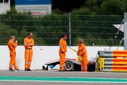 Marshals at the car of Nikita Mazepin, HitechGP, Dallara F312 - Mercedes-Benz