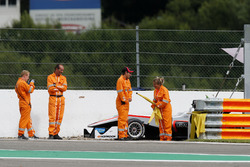 Marshals at the car of Nikita Mazepin, HitechGP, Dallara F312 - Mercedes-Benz