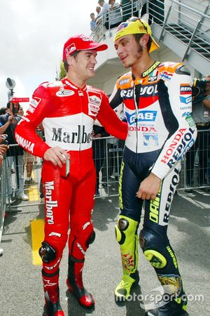 Carlos Checa, Marlboro Yamaha Team and Valentino Rossi, Repsol Honda Team