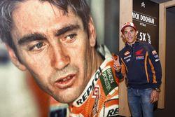 Marc Marquez, Repsol Honda Team pose avec un poster de Mick Doohan