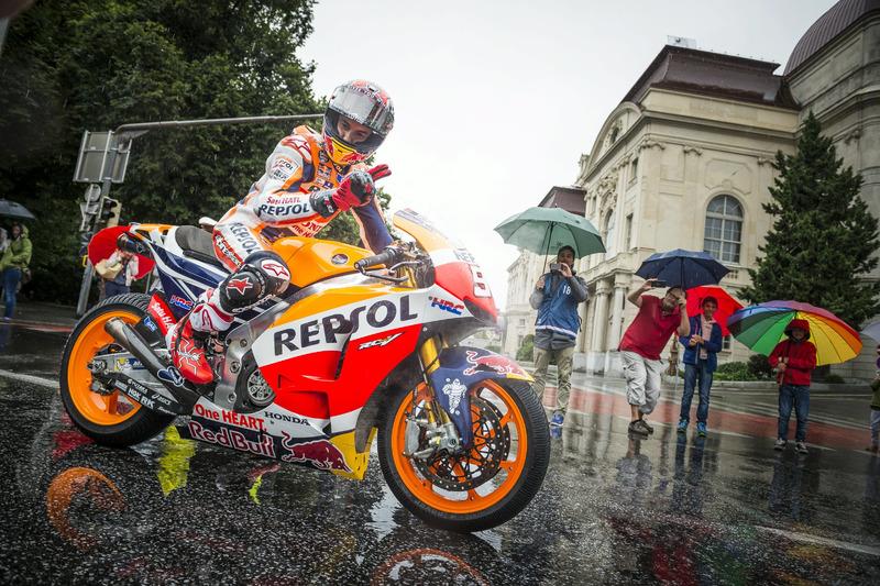 Marc Marquez, Repsol Honda performs at the MotoGP Parade
