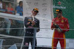 Podium: Norman Nato, Racing Engineering; Pierre Gasly, PREMA Racing und Antonio Giovinazzi, PREMA Ra