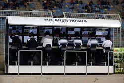McLaren team op de pitmuur