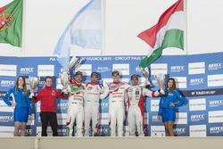 Podium: second place Tiago Monteiro, Honda Racing Team JAS, Honda Civic WTCC; first place José María López, Citroën World Touring Car Team, Citroën C-Elysée WTCC; third place Norbert Michelisz, Honda Racing Team JAS, Honda Civic WTCC; Mehdi Bennani, Sébastien Loeb Racing, Citroën C-Elysée WTCC