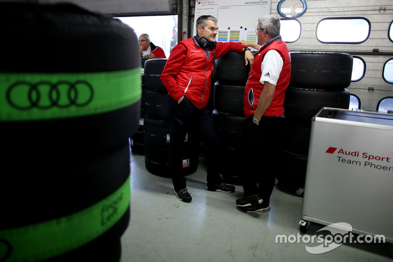 Dieter Gass, Head of DTM Audi Sport and Ernst Moser, Audi Team Phoenix