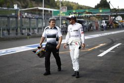 Fernando Alonso, McLaren in the pit lane.