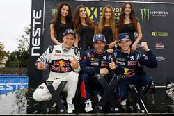 Podium: race winner Sébastien Loeb, Team Peugeot Hansen, second place Mattias Ekström, EKS RX, third place Timmy Hansen, Team Peugeot Hansen