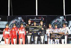 Overall podium: winners #58 Garage 59 McLaren 650S GT3: Rob Bell, Come Ledogar, Shane van Gisbergen,