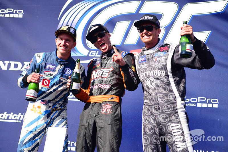 Podium: winner Brian Deegan, Ford, second place Scott Speed, Andretti Autosport, third place Patrik Sandell, Bryan Herta Rallysport