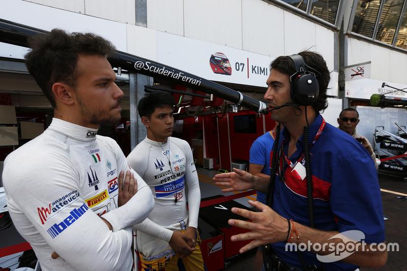 Giacomo Ricci con Philo Paz Armand, Trident, Luca Ghiotto, Trident antes de la carrera