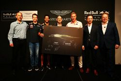 (L to R) Ian Minards, Director of Product Development Aston Martin, Daniil Kvyat, Daniel Ricciardo,