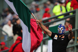 A masked fan with a Mexican flag
