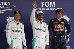 Qualifying: 2. Nico Rosberg, Mercedes AMG F1; 1. Lewis Hamilton, Mercedes AMG F1; 3. Max Verstappen,