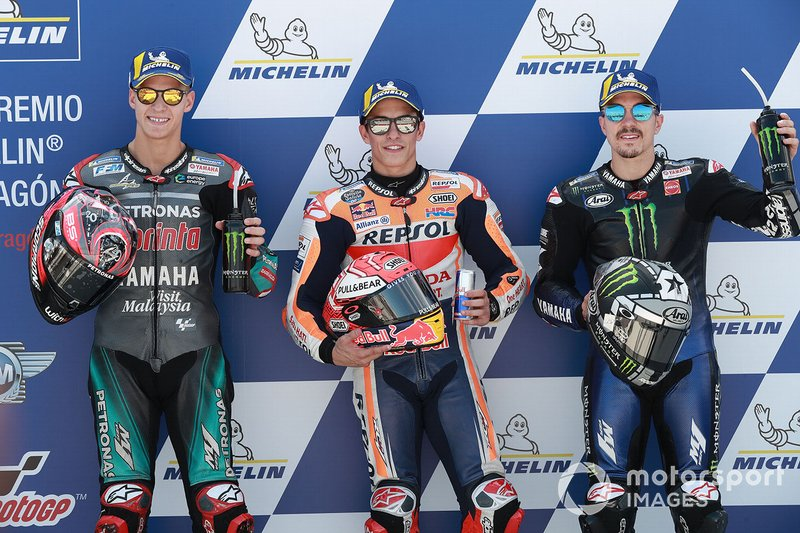 Pole sitter Marc Marquez, Repsol Honda Team, secondo classificato Fabio Quartararo, Petronas Yamaha SRT, terzo classificato Maverick Vinales, Yamaha Factory Racing