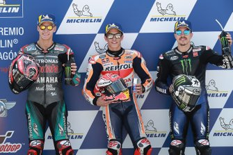 Pole sitter Marc Marquez, Repsol Honda Team, second place Fabio Quartararo, Petronas Yamaha SRT, third place Maverick Vinales, Yamaha Factory Racing