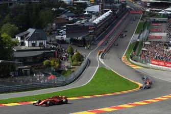 Charles Leclerc, Ferrari SF90, leads lLewis Hamilton, Mercedes AMG F1 W10, Sebastian Vettel, Ferrari SF90, and Valtteri Bottas, Mercedes AMG W10