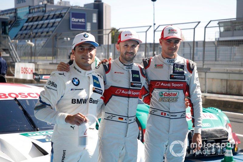 Top 3 dopo le Qualifiche, Pole sitter René Rast, Audi Sport Team Rosberg, Bruno Spengler, BMW Team RMG, Nico Müller, Audi Sport Team Abt Sportsline
