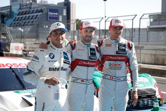 Top 3 after Qualifying, Pole sitter René Rast, Audi Sport Team Rosberg, Bruno Spengler, BMW Team RMG, Nico Müller, Audi Sport Team Abt Sportsline