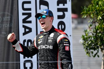 Josef Newgarden, Team Penske Chevrolet celebrate the championship on the podium