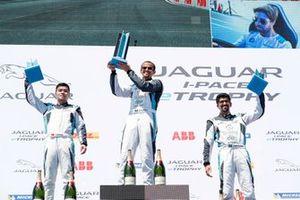 The PRO AM podium: Race winner Bandar Alesayi, Saudi Racing, Yaqi Zhang, Team China, 2nd position, Ahmed Bin Khanen, Saudi Racing, 3rd position