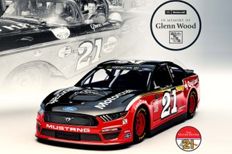 Wood Brothers Racing, Ford Mustang livery inspired by the 1957 Ford Sunliner raced by the team's late founder Glenn Wood