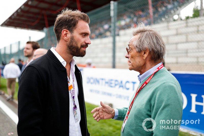 Jean-Eric Vergne talks with Belgian racing legend Jacky Ickx
