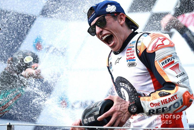 Podio: el ganador de la carrera, Marc Márquez, Repsol Honda Team y Campeón del mundo 2019