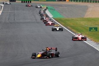 Juri Vips, Hitech Grand Prix leads Jehan Daruvala, PREMA Racing