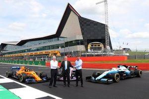Chase Carey, Chairman, Formula 1, Stuart Pringle, Silverstone managing director, John Grant, Silverstone circuit owner