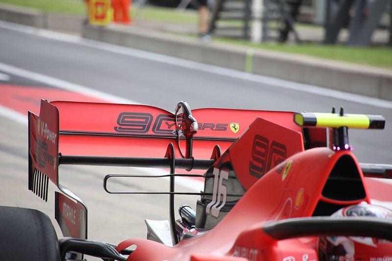 Detalle del alerón trasero de Charles Leclerc, Ferrari SF90