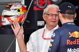 Helmut Marko, Consultant, Red Bull Racing, en Max Verstappen, Red Bull Racing