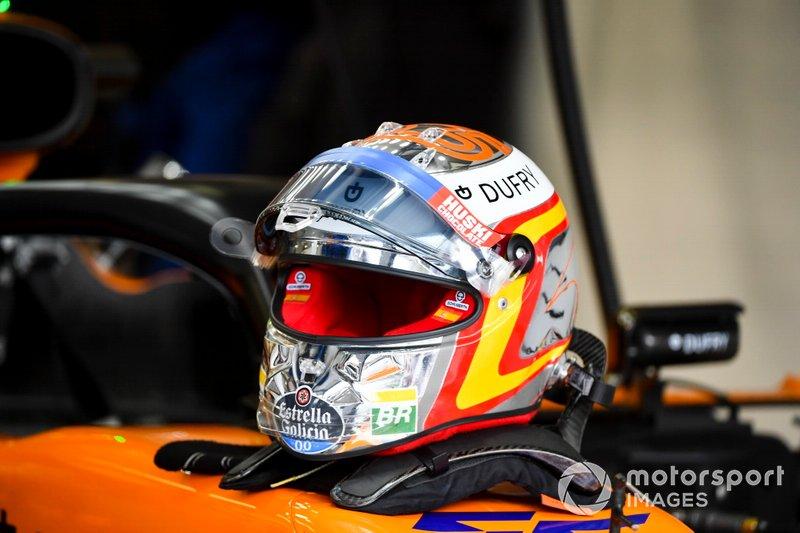 The helmet of Carlos Sainz Jr., McLaren
