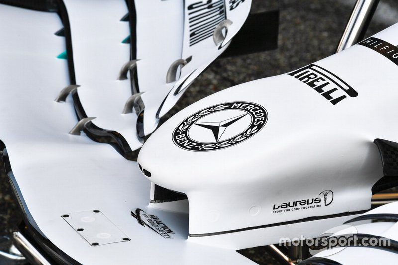 Dettaglio della livrea della livrea speciale delle Mercedes W10