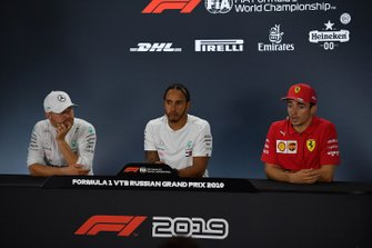 Valtteri Bottas, Mercedes AMG F1, 2nd position, Lewis Hamilton, Mercedes AMG F1, 1st position, and Charles Leclerc, Ferrari, 3rd position, in the Press Conference