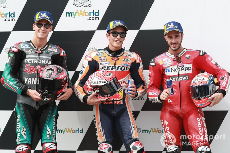 Polesitter Marc Marquez, Repsol Honda Team, secondo classificato Fabio Quartararo, Petronas Yamaha SRT, terzo classificato Andrea Dovizioso, Ducati Team
