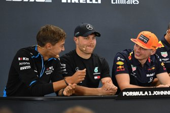 George Russell, Williams Racing, Valtteri Bottas, Mercedes AMG F1 and Max Verstappen, Red Bull Racing