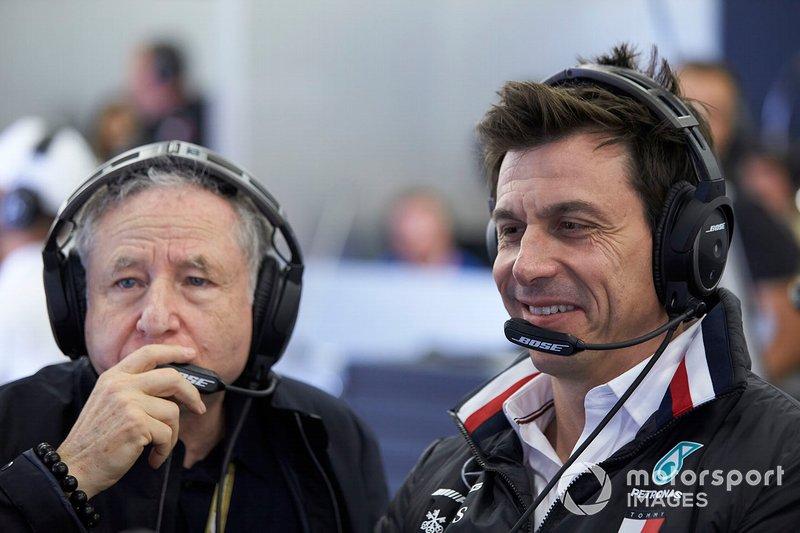 Jean Todt, Presidente FIA, e Toto Wolff, Direttore Esecutivo, Mercedes AMG
