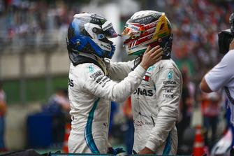 Lewis Hamilton, Mercedes AMG F1, celebrates victory in parc ferme, with Valtteri Bottas, Mercedes AMG F1.