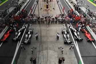 Lewis Hamilton, Mercedes AMG F1, Sebastian Vettel, Ferrari and Valtteri Bottas, Mercedes AMG F1 in parc ferme
