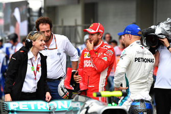 Matteo Bonciani, FIA Media Delegate, Sebastian Vettel, Ferrari and Valtteri Bottas, Mercedes AMG F1 in Parc Ferme