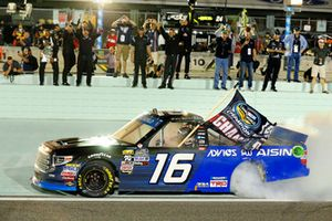 Brett Moffitt, Hattori Racing Enterprises, Toyota Tundra AISIN Group celebrates his win with a burnout