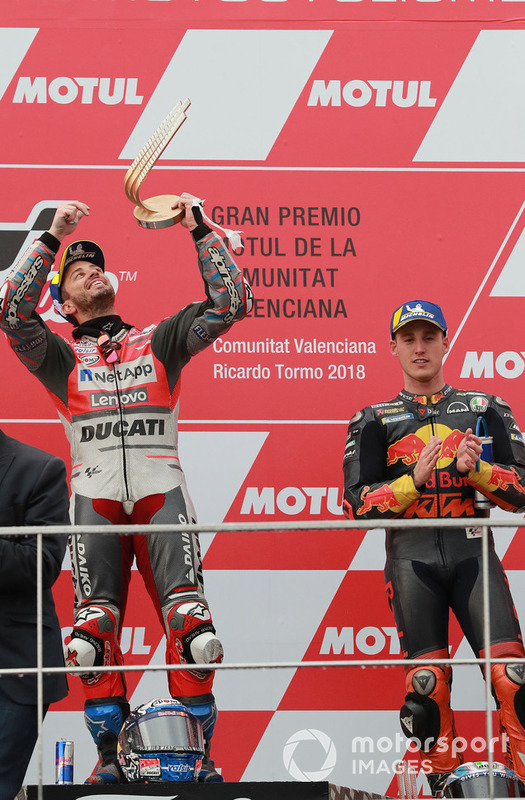 Podio: ganador, Andrea Dovizioso, Ducati Team, tercero, Pol Espargaro, Red Bull KTM Factory Racing